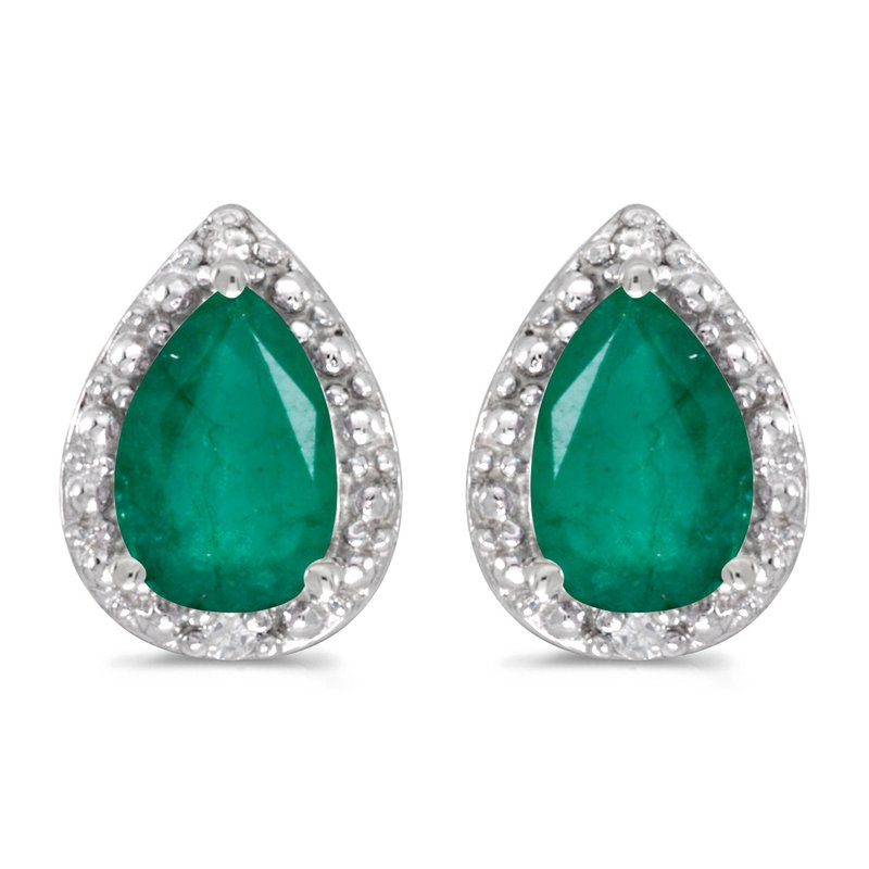 Color Merchants 14k White Gold Pear Emerald And Diamond Earrings