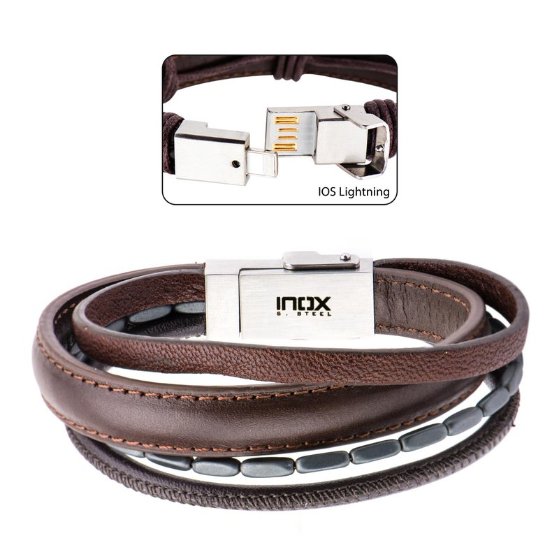 Inox Multi Genuine Brown Leather And
