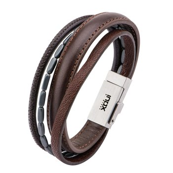 Multi Genuine Brown Leather and Black Hematite IOS USB Bracelet