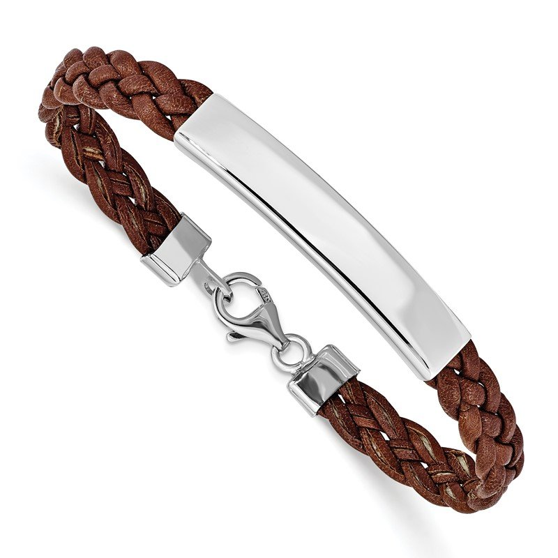 Quality Gold Sterling Silver Rhodium-plated Brown Braided Leather Bracelet