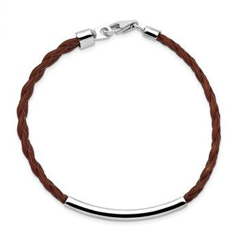 Sterling Silver Rhodium-plated Brown Braided Leather Bracelet