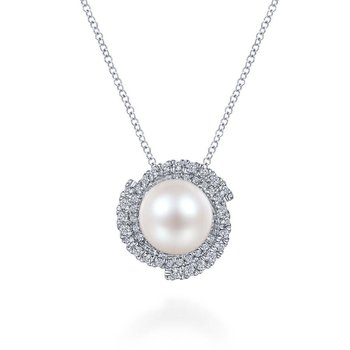 14K White Gold Round Cultured Pearl Swirling Diamond Halo Pendant Necklace