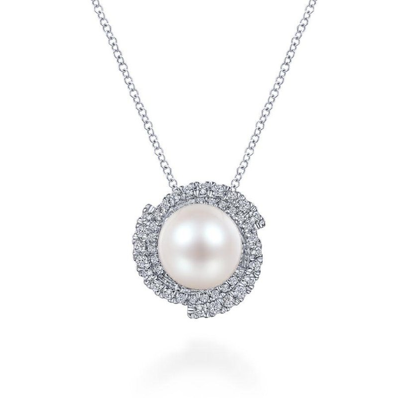 Gabriel Fashion 14K White Gold Round Cultured Pearl Swirling Diamond Halo Pendant Necklace