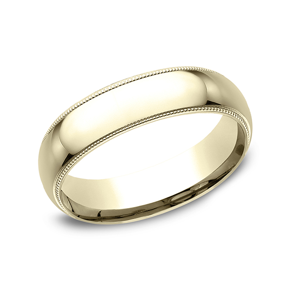 Mens 10K Yellow Gold 6mm Slightly Domed Comfort Fit with Milgrain Wedding Band Ring