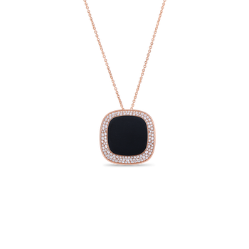18Kt Gold Large Pendant With Black Jade And Diamonds