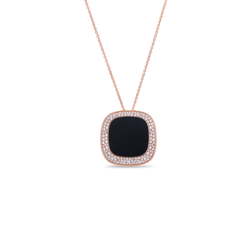 Roberto Coin Large Pendant With Black Jade And Diamonds