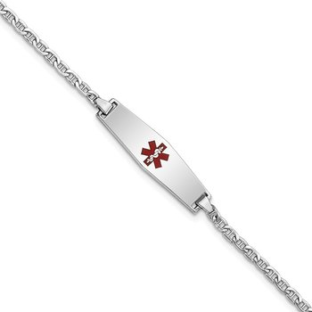 14k WG Medical Semi-Solid Soft Diamond Shape Enamel Anchor Link ID Bracelet