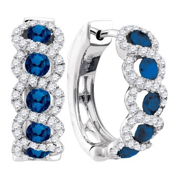 14kt White Gold Womens Round Blue Sapphire Diamond Hoop Earrings 1-3/4 Cttw