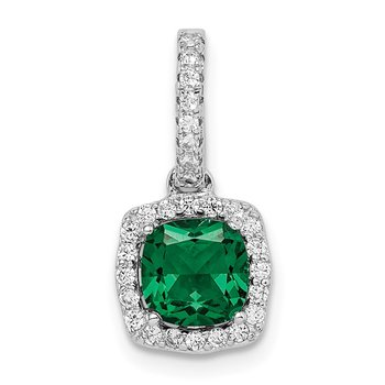 Sterling Silver Rhodium-plated Green & White CZ Slide