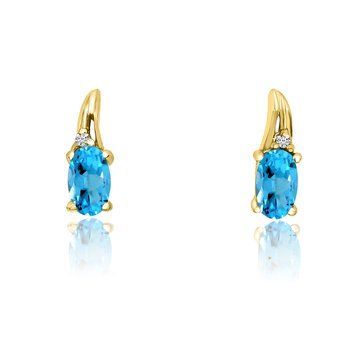 14k Yellow Gold BlueTopaz and Diamond Earrings