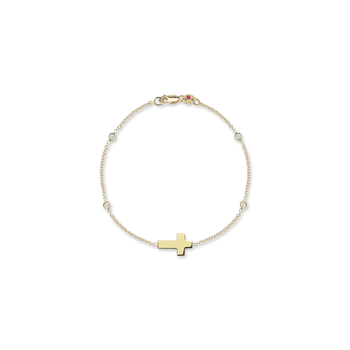 18KT GOLD CROSS BRACELET WITH 4 DIAMOND STATIONS