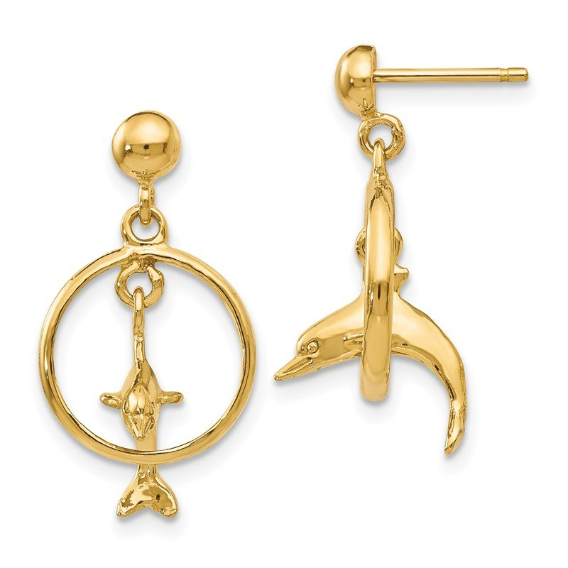 Quality Gold 14K Polished 3-D Dolphin Jumping Through Hoop Dangle Earrings