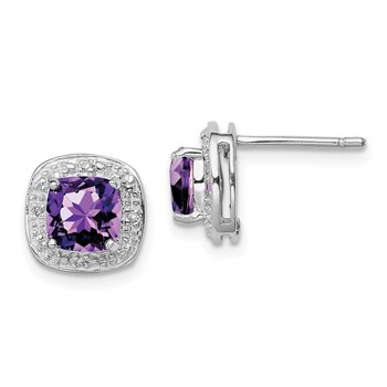 Sterling Silver Rhodium Amethyst & Diamond Post Earrings