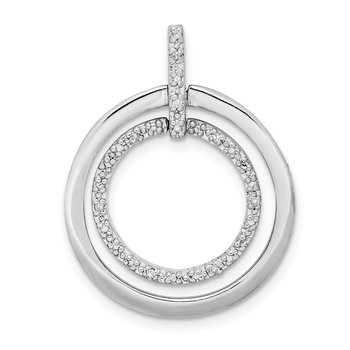 Sterling Silver Rhodium Plated Diamond Pendant