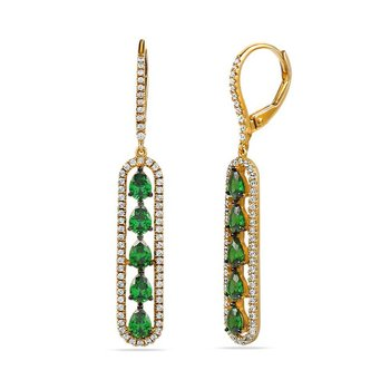 14K drop earrings with 126 Diamonds 0.50C TW & 10 Green Garnet 1.50C TW
