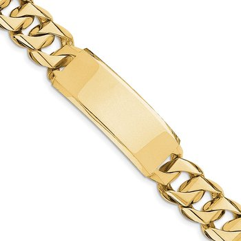 14k Hand-polished Heavy Curb Link ID Bracelet