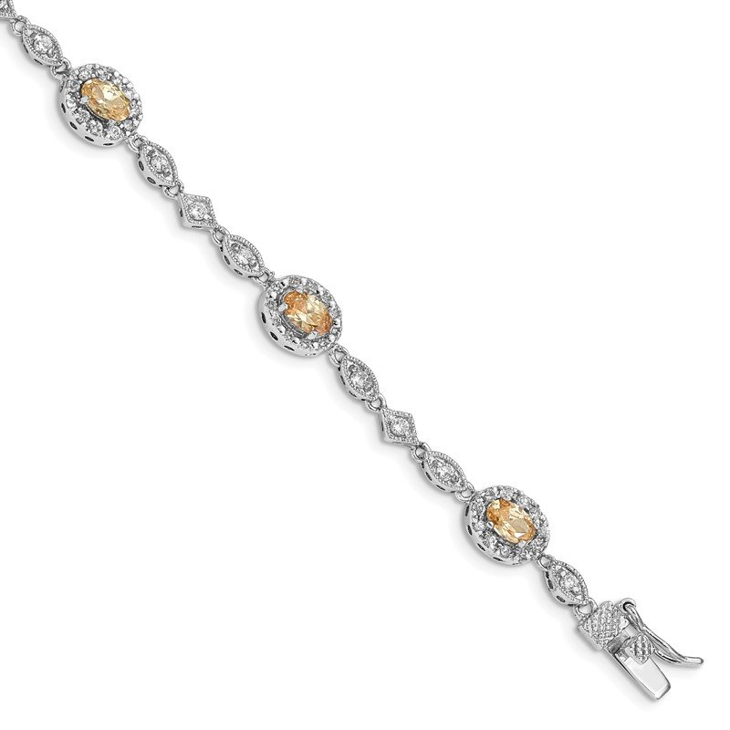 Quality Gold Sterling Silver Rhodium-plated 7inch Champagne CZ Bracelet