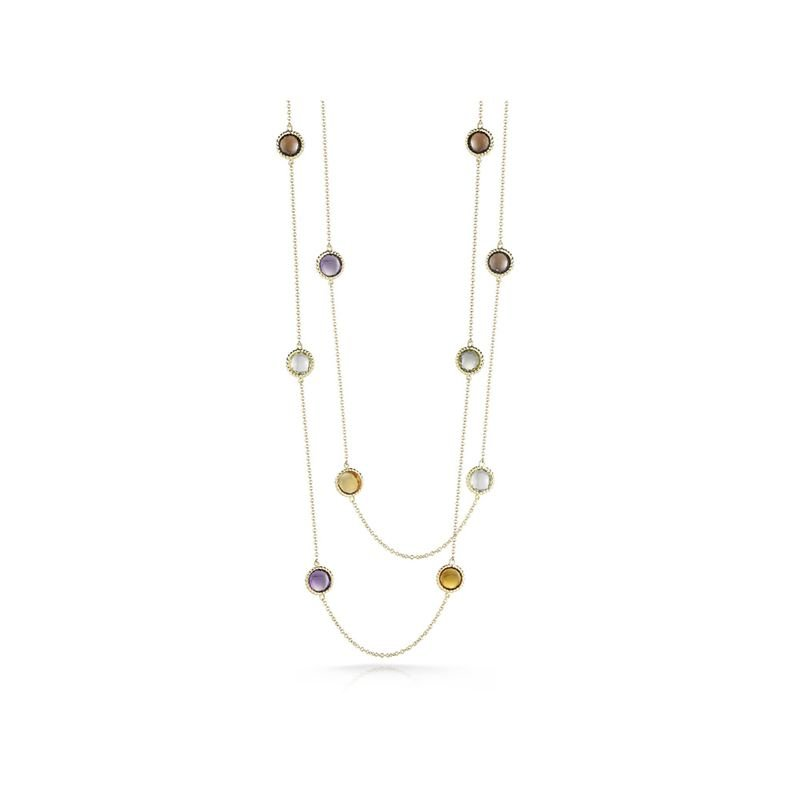 Roberto Coin 18Kt Gold Necklace With Semi Precious Stones Stations