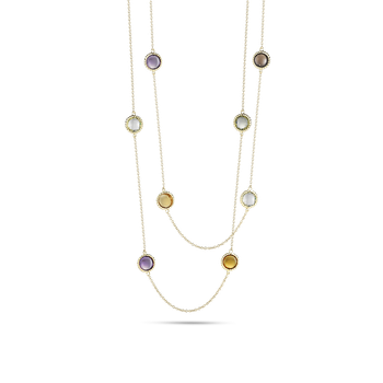 18Kt Gold Necklace With Semi Precious Stones Stations