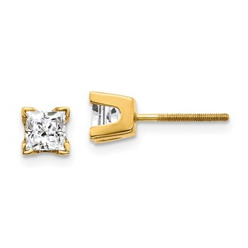 14k AAA Quality Complete Princess-cut Diamond Earring