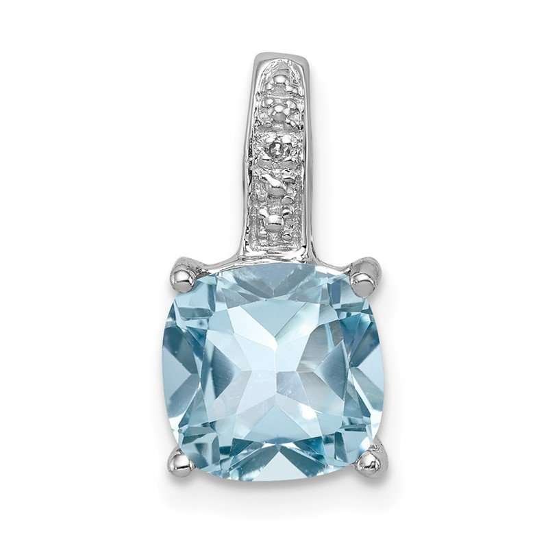 Quality Gold Sterling Silver Rhodium Light Swiss Blue Topaz Pendant