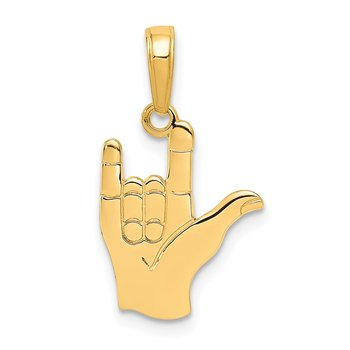 14k I Love You Hand/ Sign Language Pendant