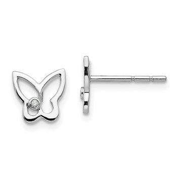 SS White Ice Diamond Butterfly Post Earrings