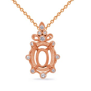 Rose Gold Diamond Pendant 9x7mm Oval