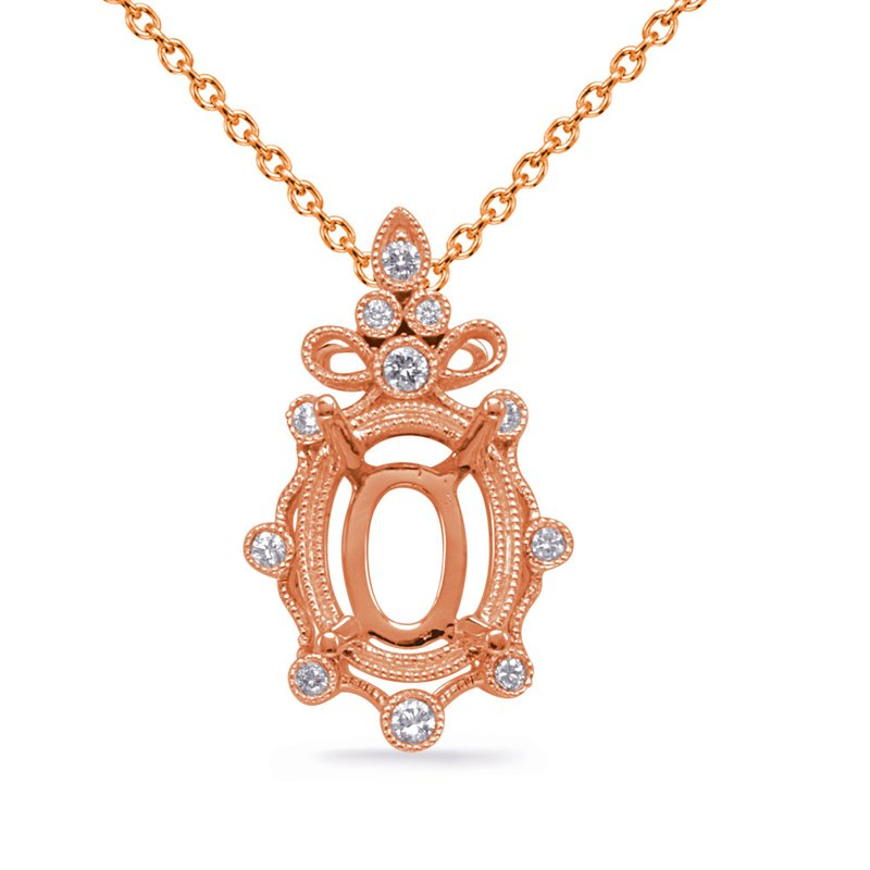 S. Kashi  & Sons Rose Gold Diamond Pendant 9x7mm Oval