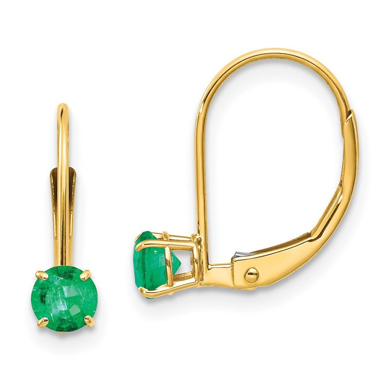 Quality Gold 14k 4mm Round May/Emerald Leverback Earrings