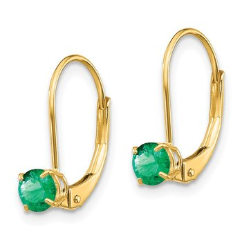 14k 4mm Round May/Emerald Leverback Earrings