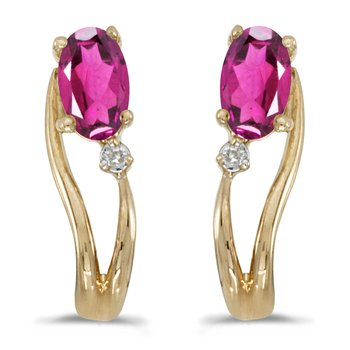 14k Yellow Gold Oval Pink Topaz And Diamond Wave Earrings