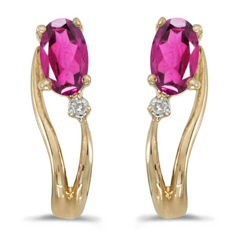 Color Merchants 14k Yellow Gold Oval Pink Topaz And Diamond Wave Earrings