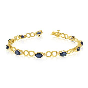 14K Yellow Gold Oval Sapphire and Diamond Bracelet