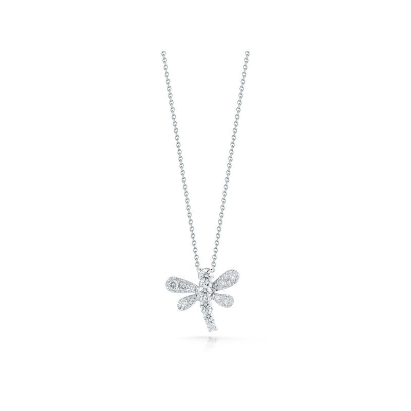 Roberto Coin 18Kt Gold Dragonfly Pendant With Diamonds