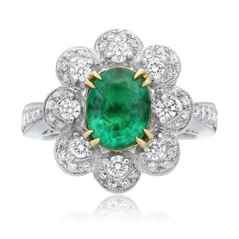 Emerald & Diamond Flower Ring