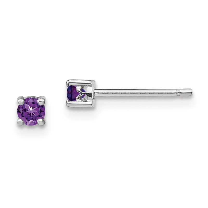 Quality Gold Sterling Silver 3mm Round Amethyst Post Earrings