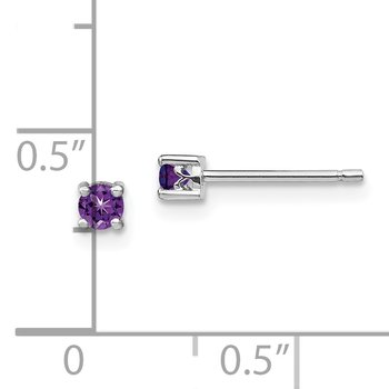 Sterling Silver 3mm Round Amethyst Post Earrings