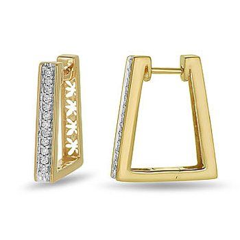 10K YG Diamond Huggy Rhombus shape Ear Rings