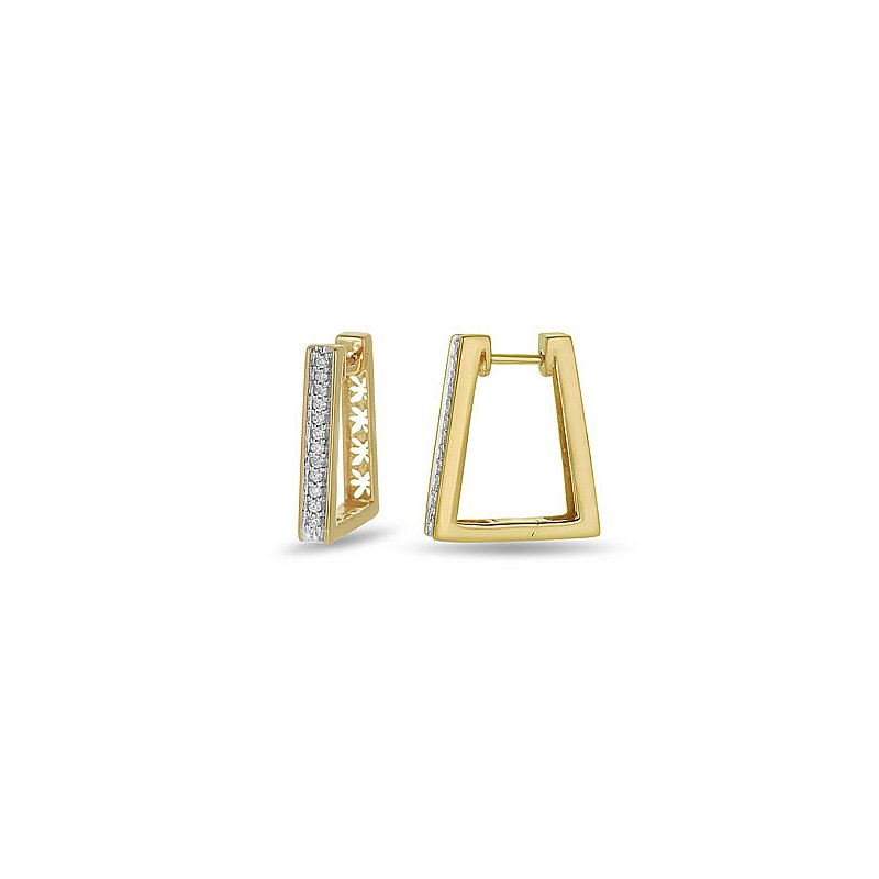 BB Impex 10K YG Diamond Huggy Rhombus shape Ear Rings
