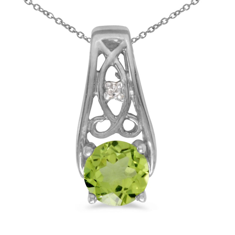 Color Merchants 14k White Gold Round Peridot And Diamond Pendant