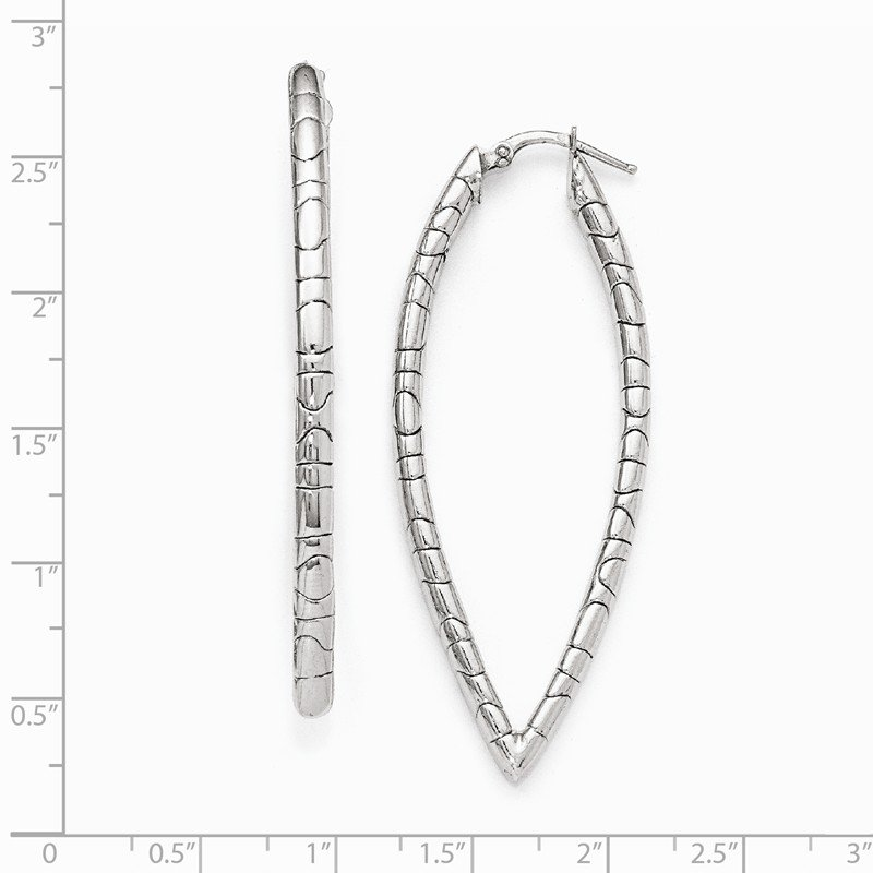 Leslie's Leslie's Sterling Silver Polished and Textured Hinged Hoop Earrings