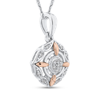 Essentials 10K White & Rose Gold .07 Ct Diamond Fashion Pendant with Chain