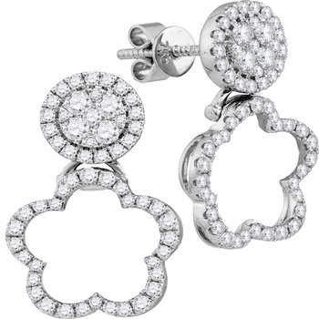 18kt White Gold Womens Round Diamond Quatrefoil Convertible Dangle Jacket Earrings 5/8 Cttw
