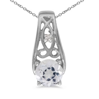 10k White Gold Round White Topaz And Diamond Pendant