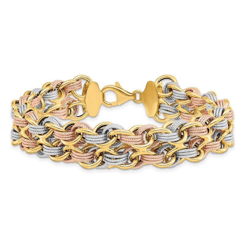 Leslie's Leslie's 14K Tri-color Polished & Textured Fancy Link Bracelet