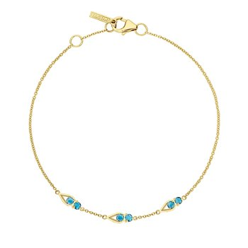 Petite Open Crescent Gemstone Bracelet with London Blue