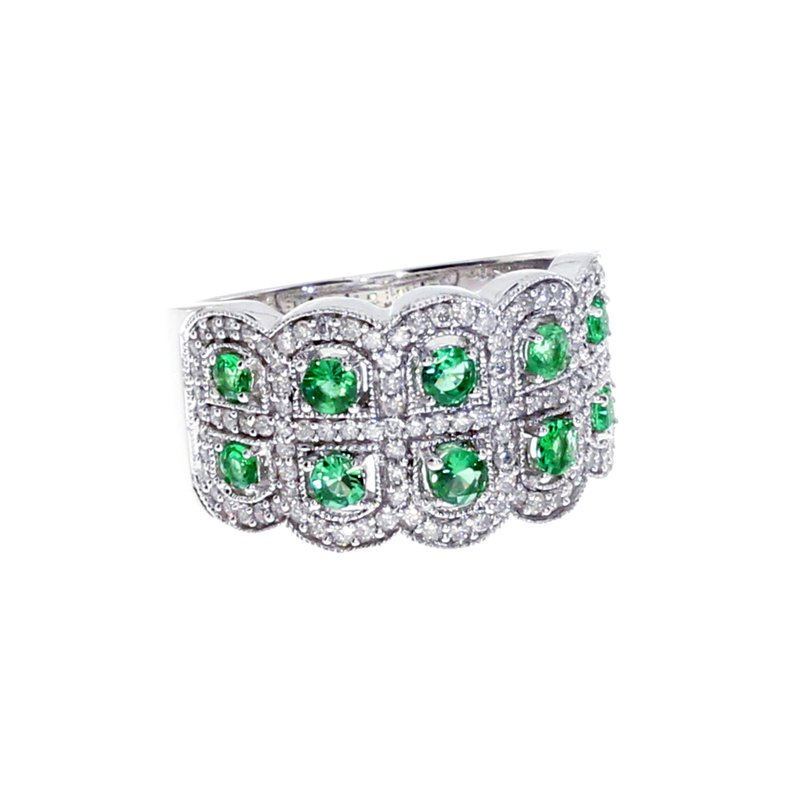 Color Merchants 14k White Gold Emerald and Diamond Band