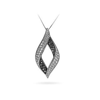14K WG White and Black Diamond Fashion Leaf Pendant