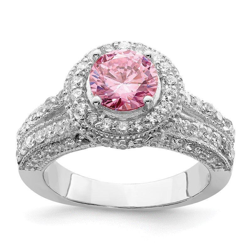 Quality Gold Sterling Silver Round Pink & White CZ Ring